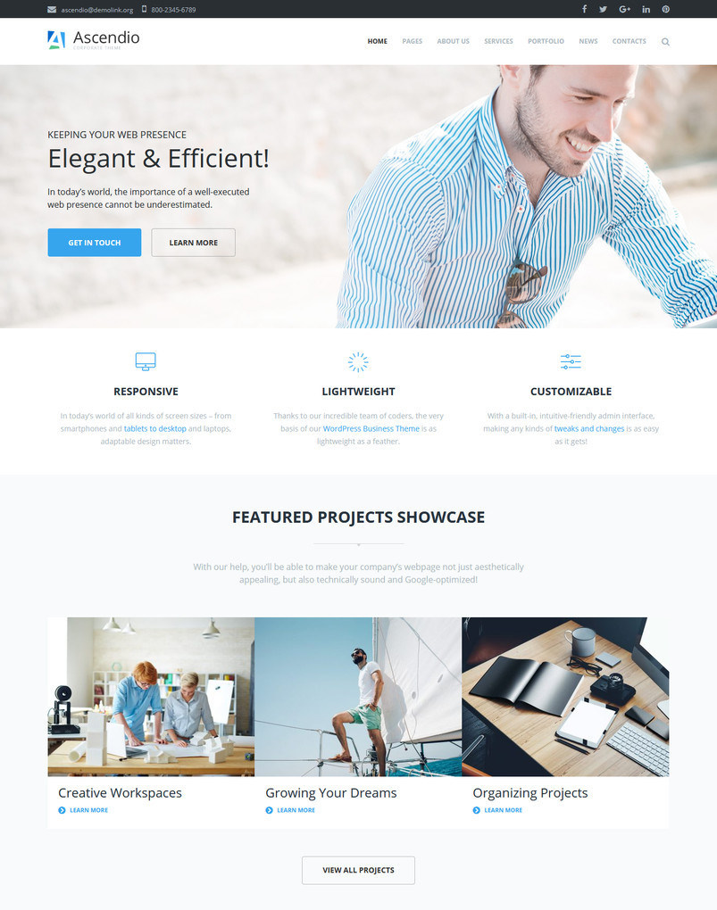 35 best business corporate wordpress themes 2018 decolore ascendio business corporate wordpress theme flashek Choice Image
