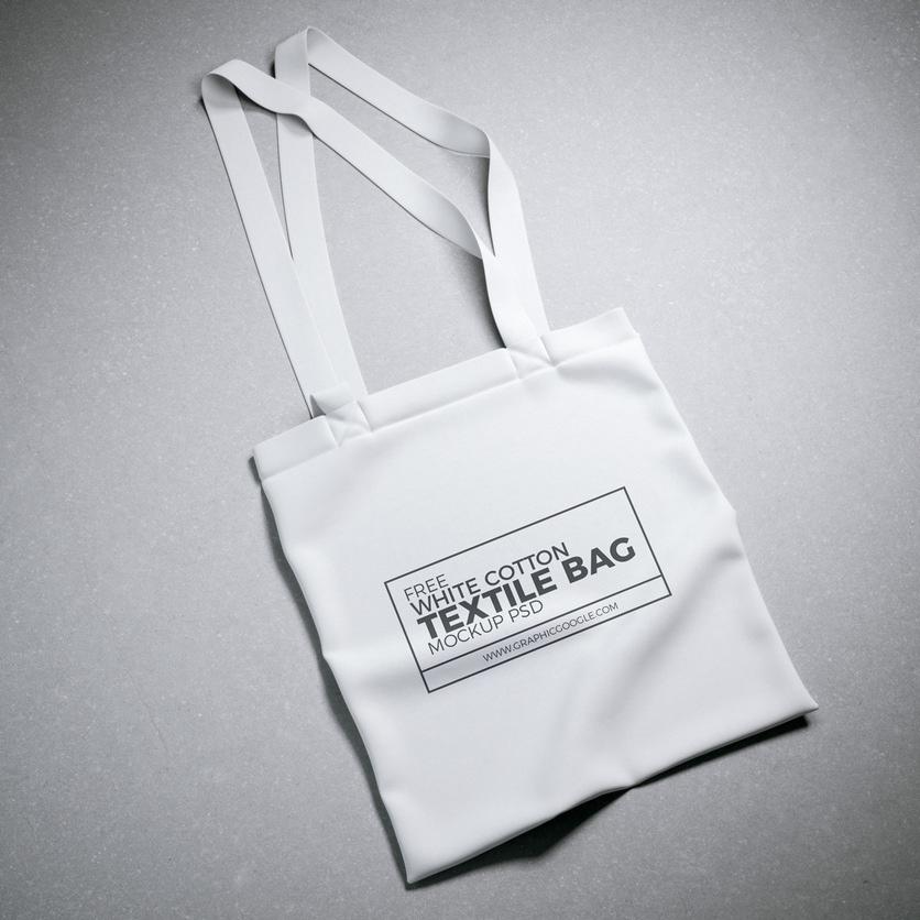 free white cotton textile bag mockup psd