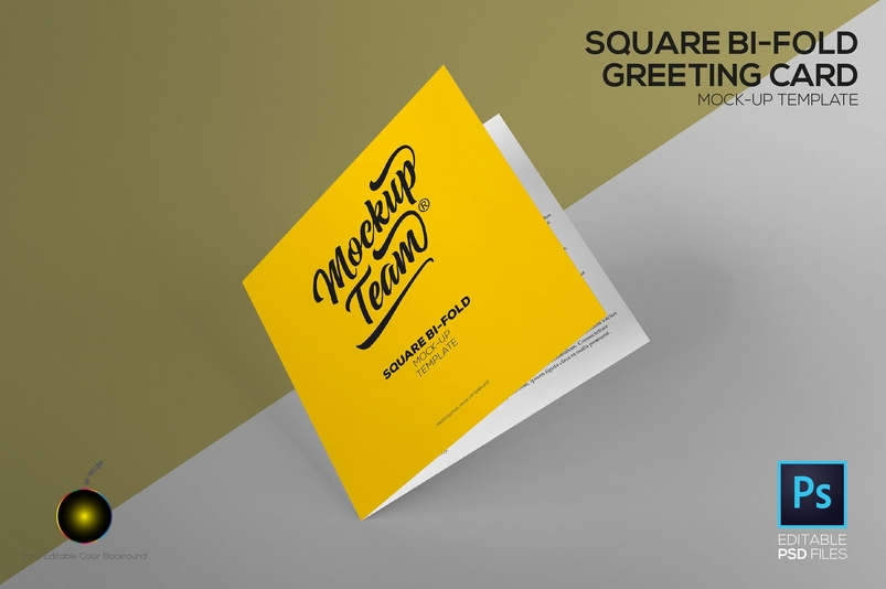 Square Greeting Card Mockup Template