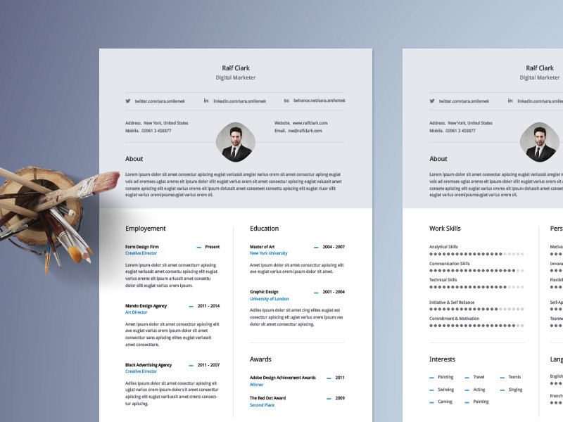 Classical Classy Resume Or Cv Template With Neat Half Page Column Layout Very Easy To Edit And Customize A Detailed Instructions File Included