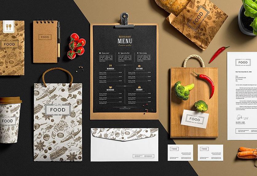 Best restaurant branding psd mockup templates