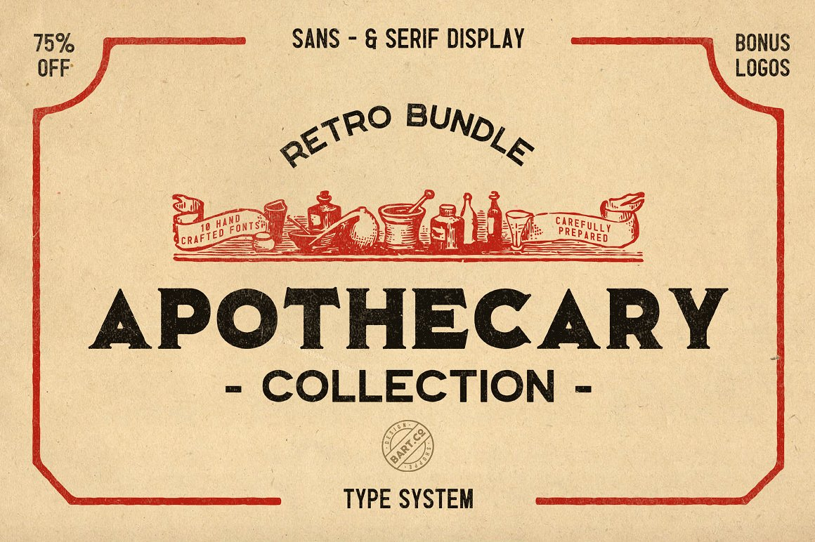 All Fonts Are Inspired By Vintage Medicine And Druggists Books Labels Signboards
