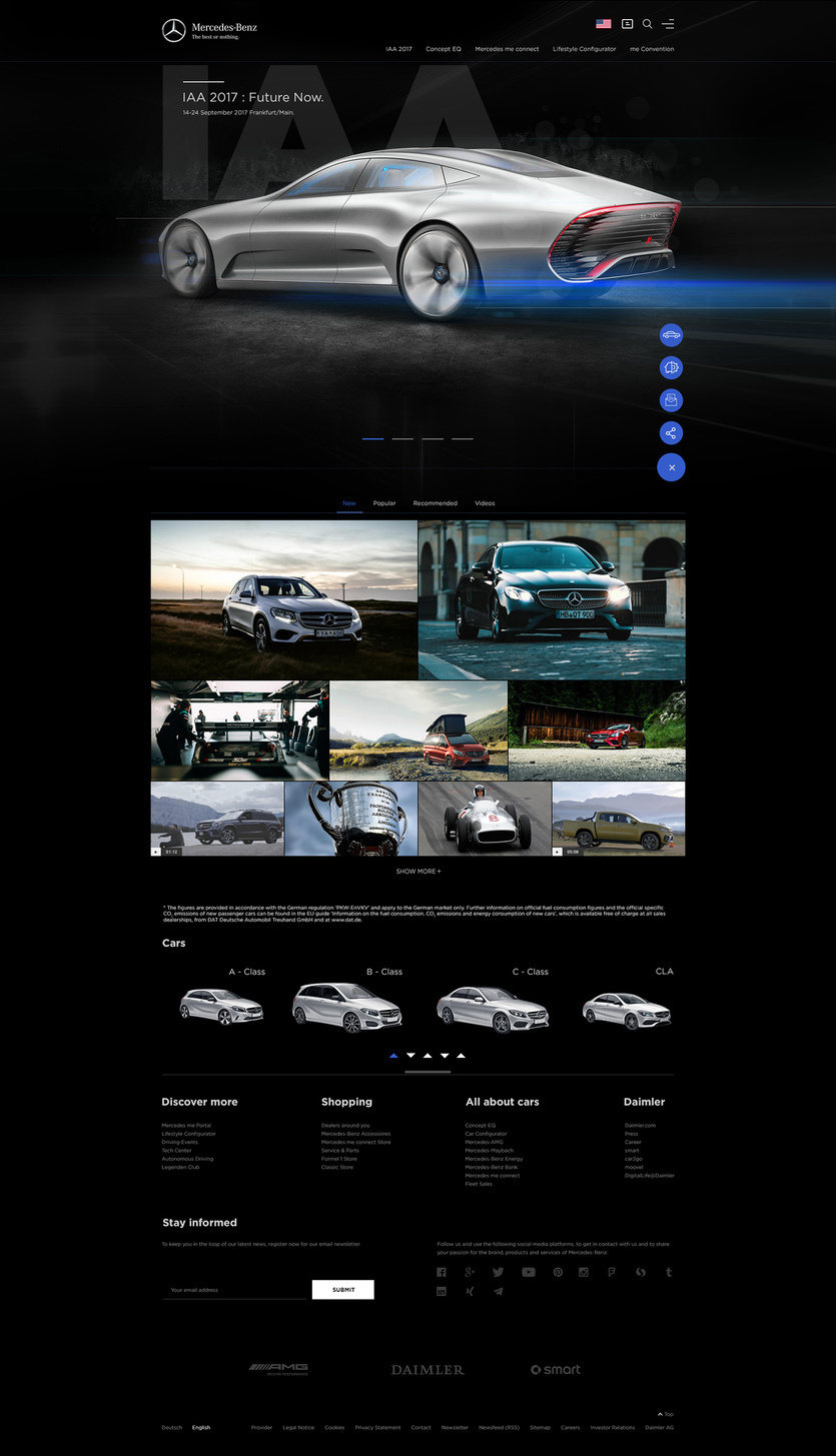 Website redesign 27 beautiful design concepts of popular for Mercedes benz official site