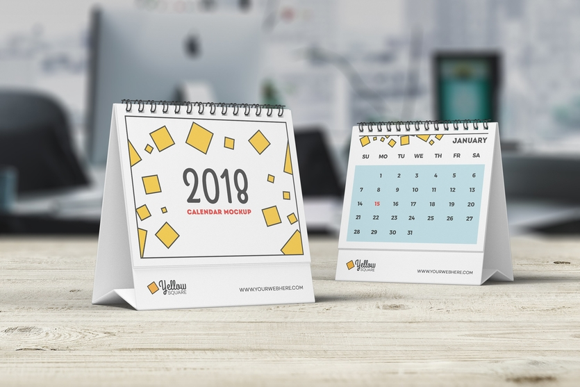Table Calendar Mockup : Attractive wall and desk calendar mockups decolore