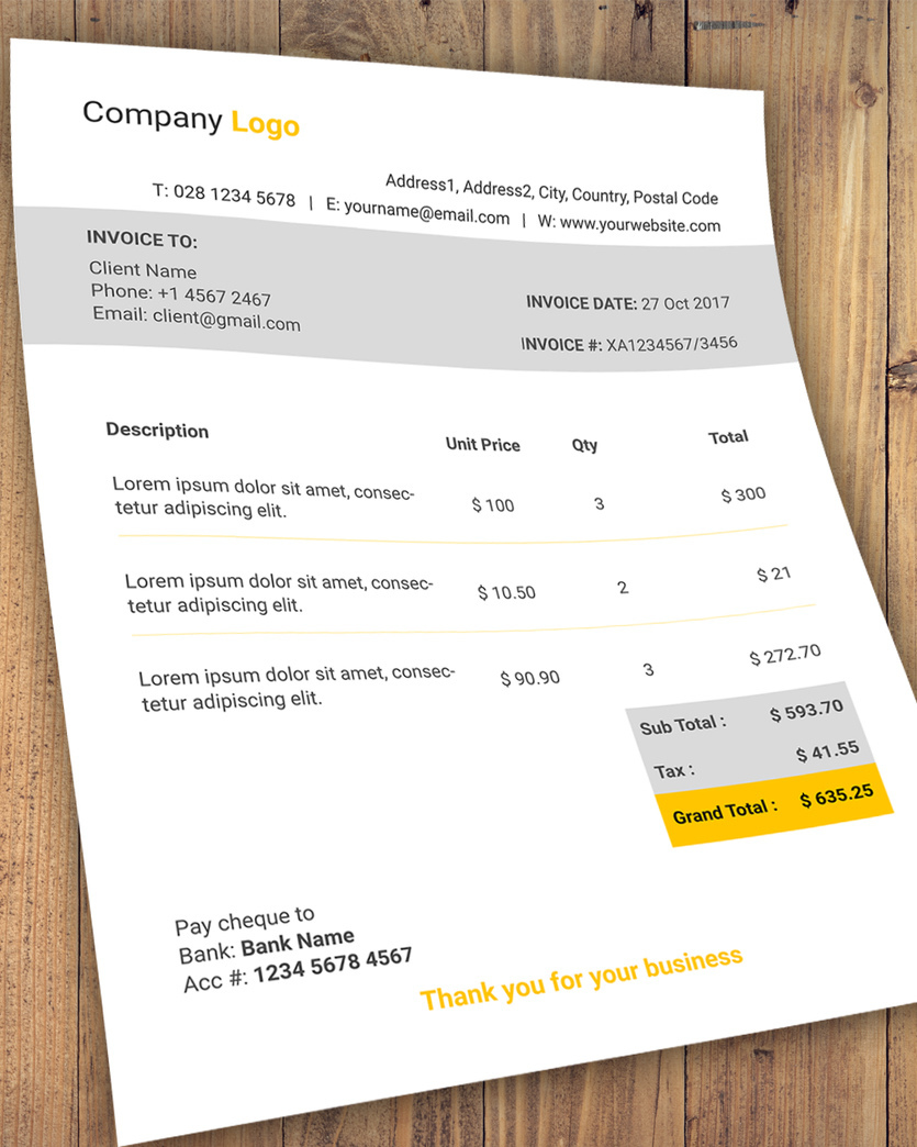 Free Invoice Template PSD