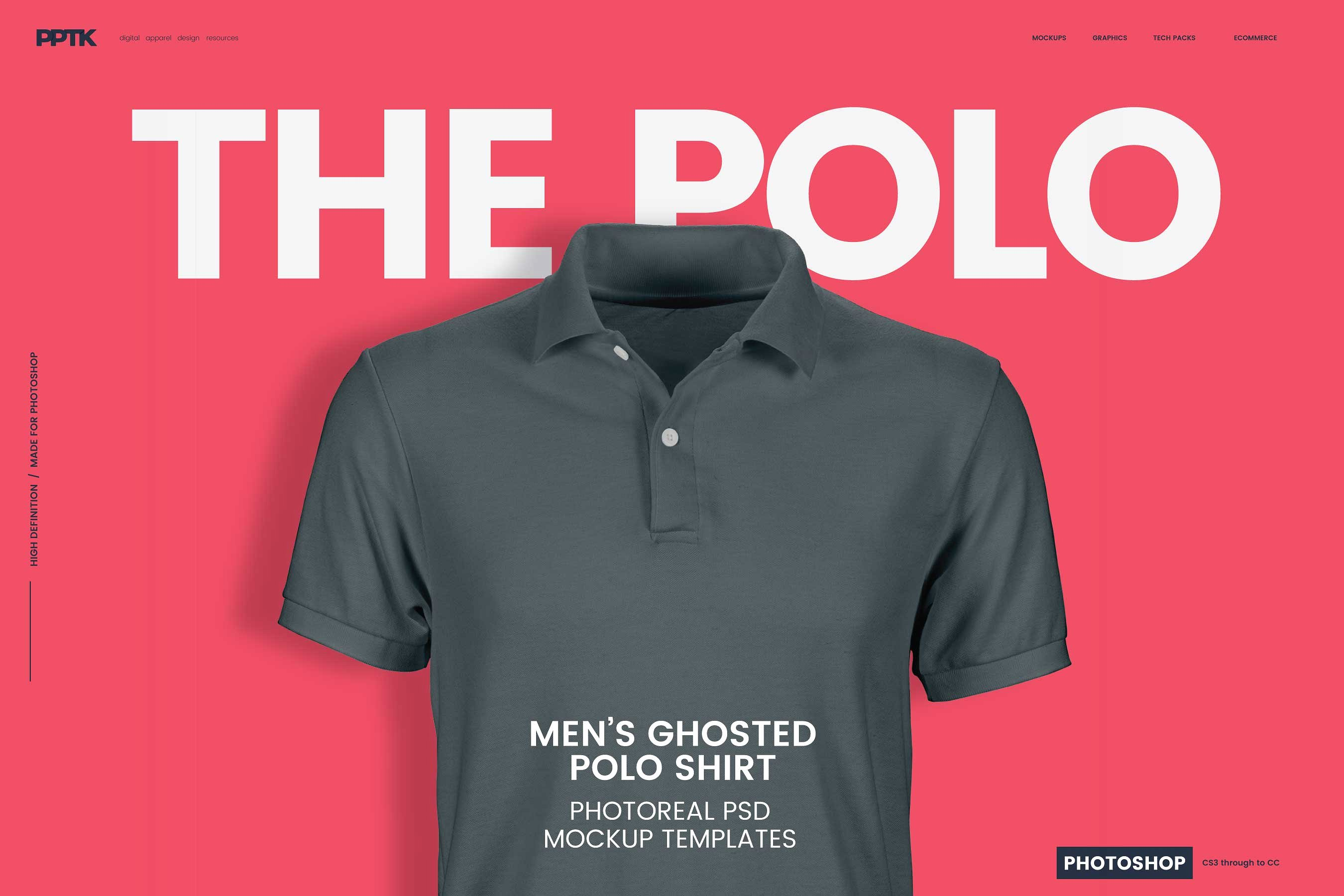 Men S Ghosted Polo Shirt Mockups