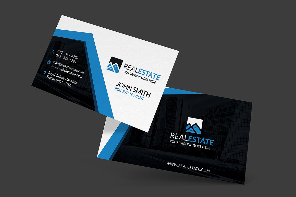 30 modern real estate business cards psd decolorenet for Modern real estate business cards