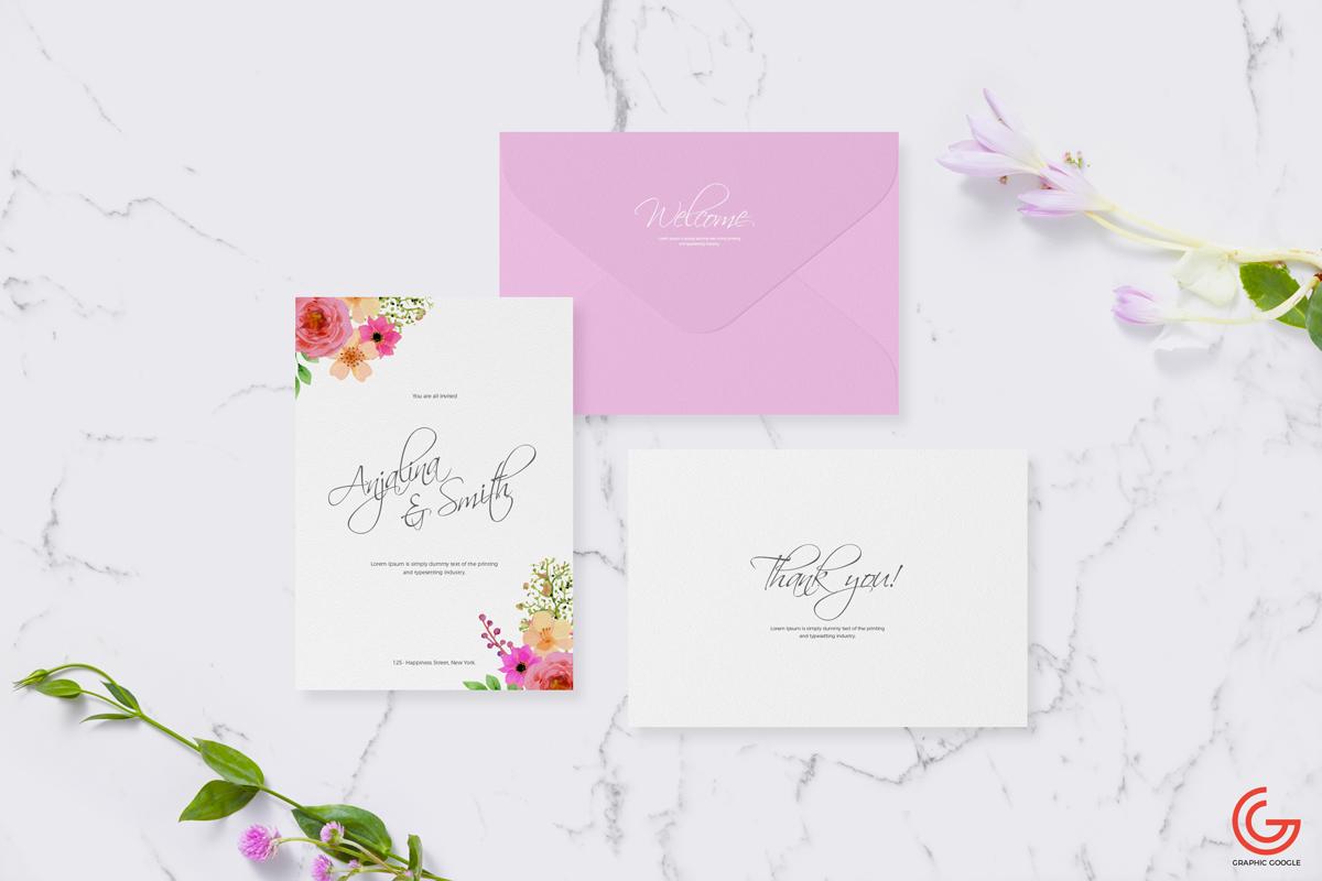 Free Invitation Card Mockup For Wedding Greetings