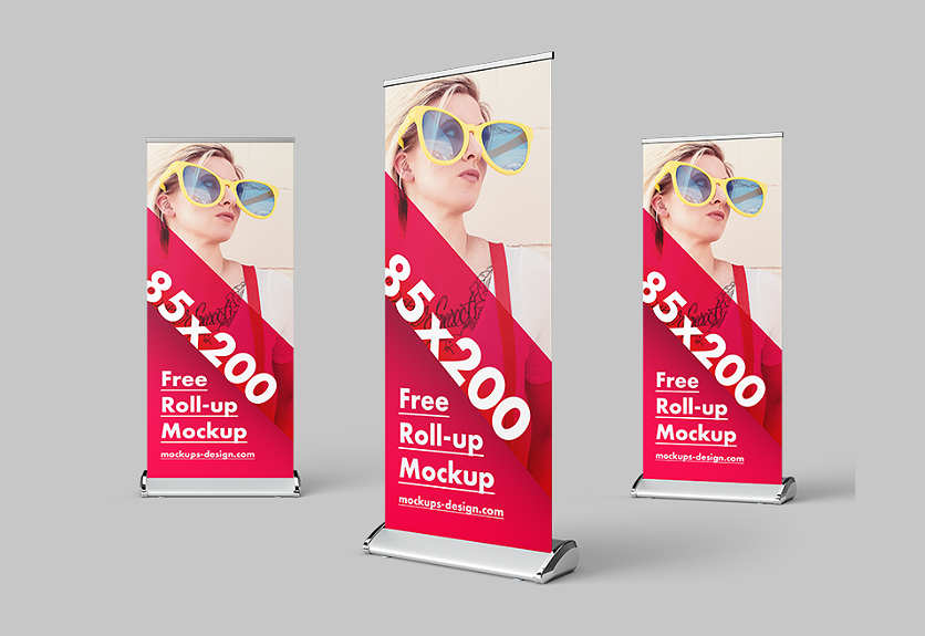 Psd Mockup Templates | 40 Photorealitic Roll Up Standing Banner Psd Mockup Templates