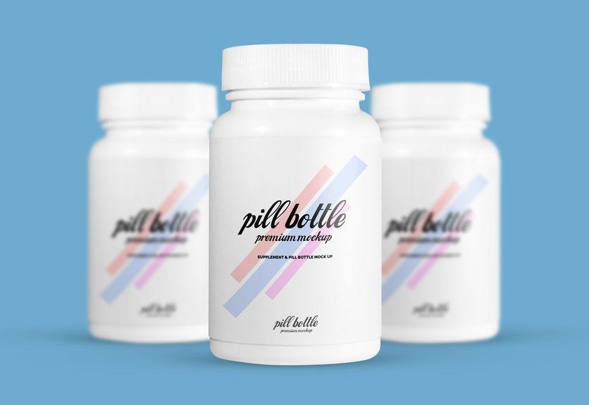 30  pills    vitamins bottle packaging psd mockup templates