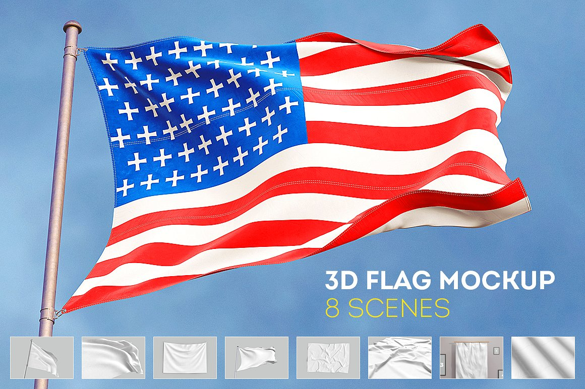 30+ Ultra Realistic Flag PSD Mockup Templates | Decolore Net