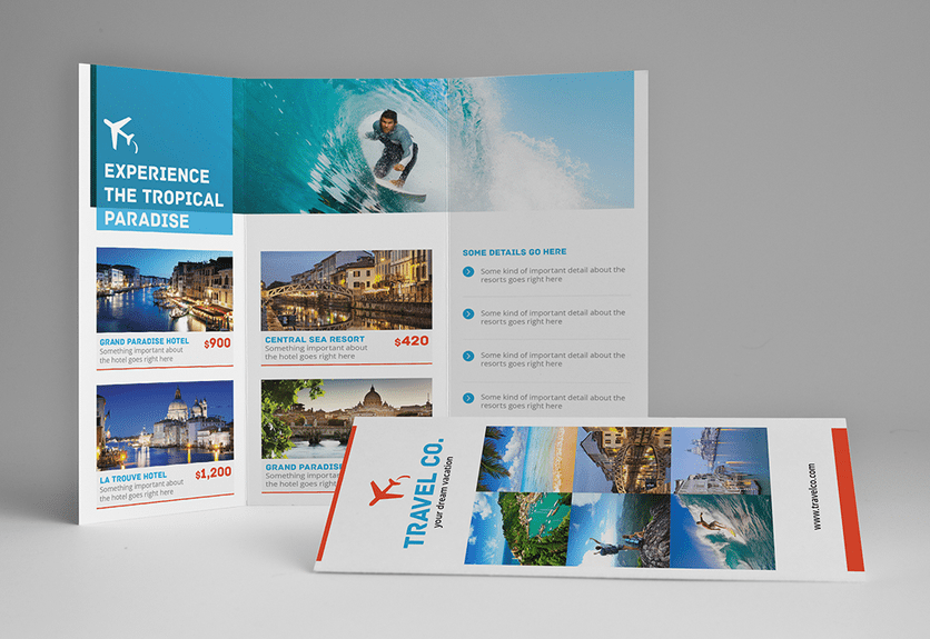 30 attractive brochure templates for travel tourism for Attractive brochure designs