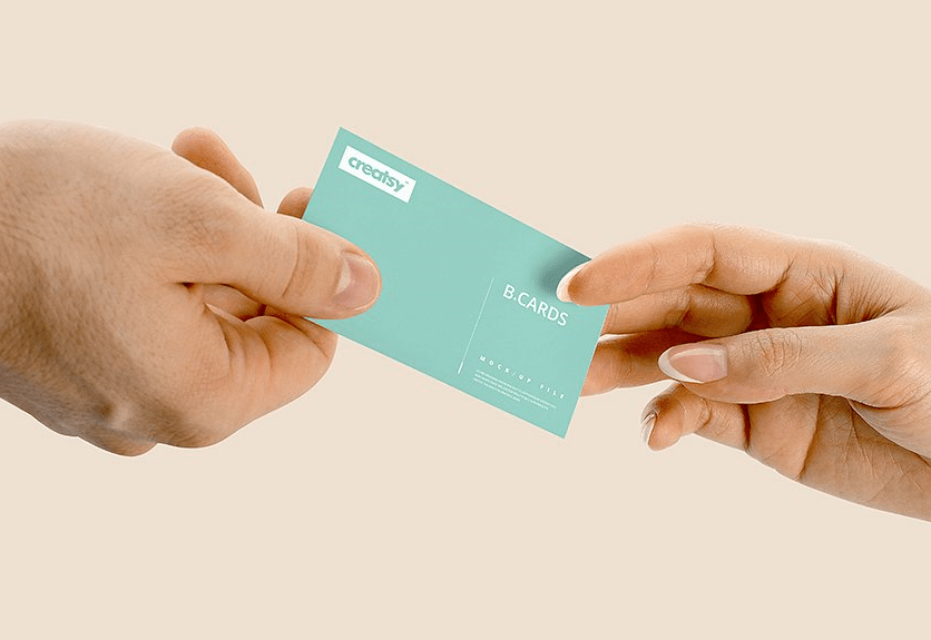 35+ Realistic Business Card in Hand Mockups | Decolore.Net