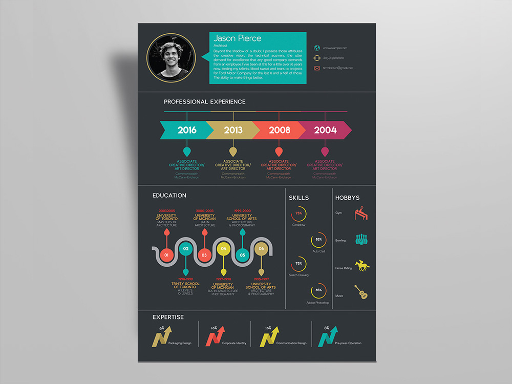 20 Free Colorful Resume Templates With Professional Design