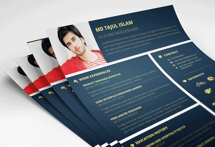 21 Handsomely Created (Dark) PSD Resume Templates | Decolore.Net