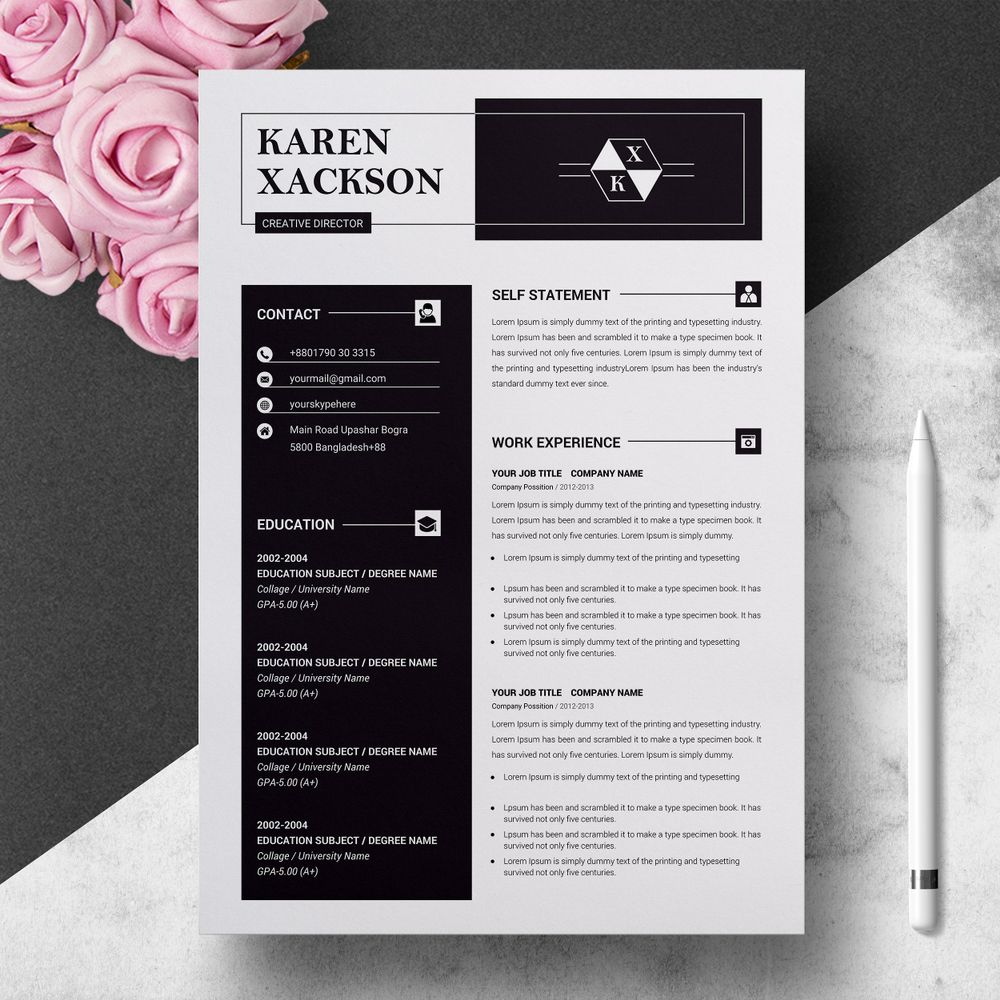 Handsomely Created Dark Psd Resume Templates  DecoloreNet