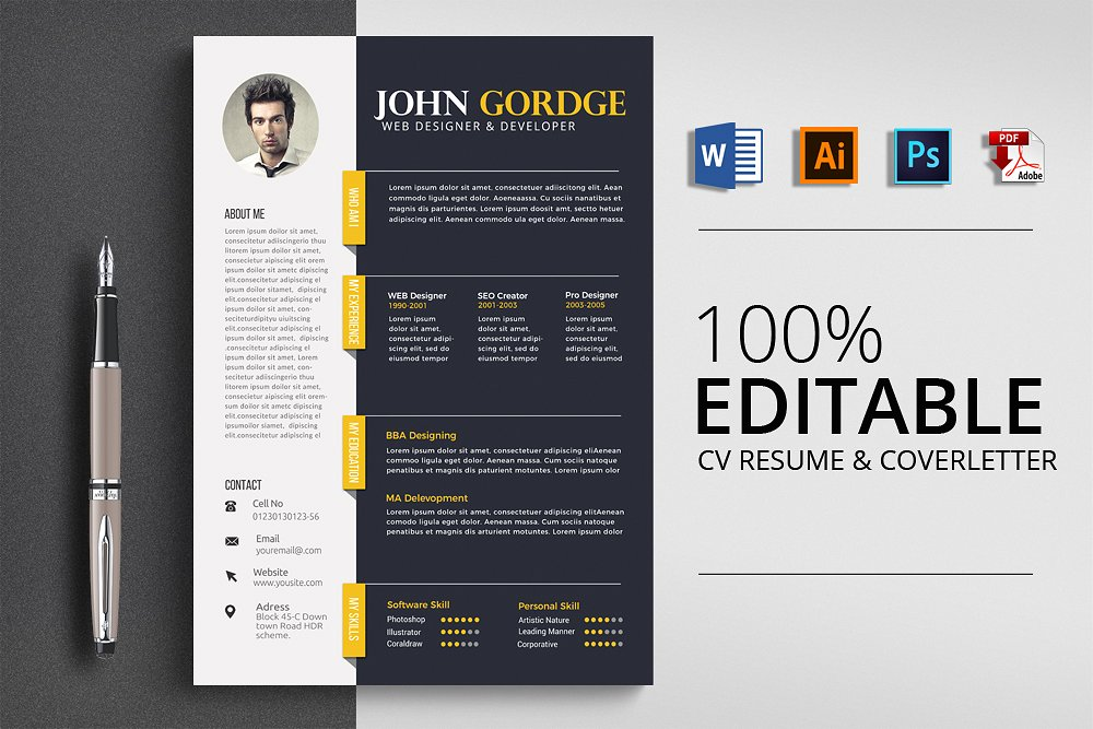 21 Handsomely Created Dark Psd Resume Templates Decolore Net