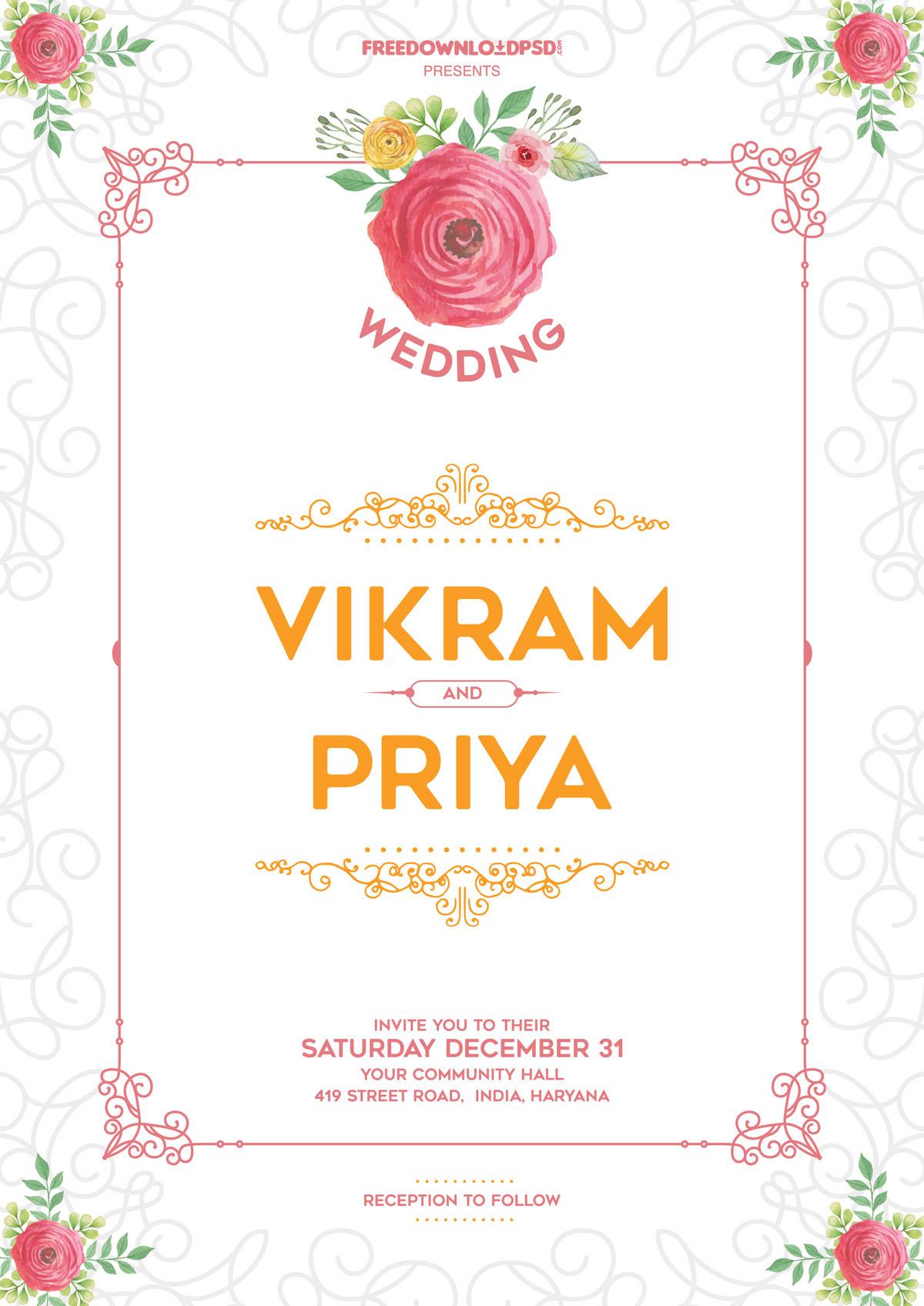 Free Wedding Fonts For Your Diy Invitations: 30+ Elegant Wedding Invitation PSD Templates