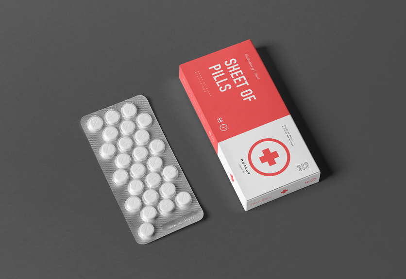 30  pills box packaging psd mockup templates