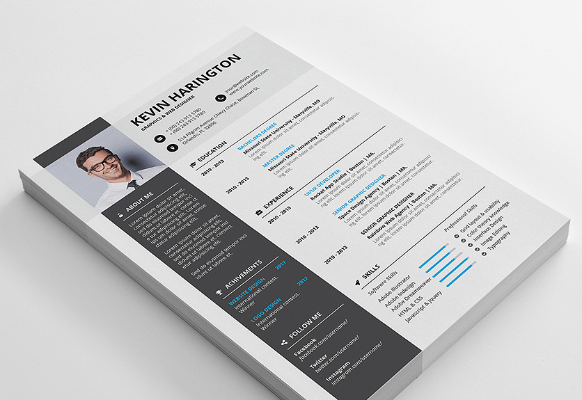 30 Free Creative Resume Templates For Adobe Indesign Decolore Net