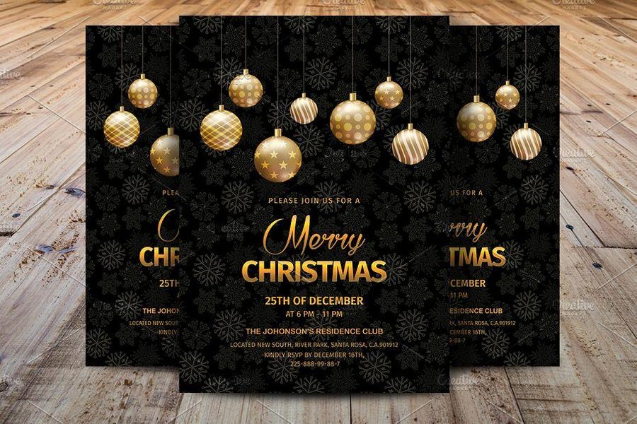 30 Stunning Christmas Invitation Card Templates Decolore Net