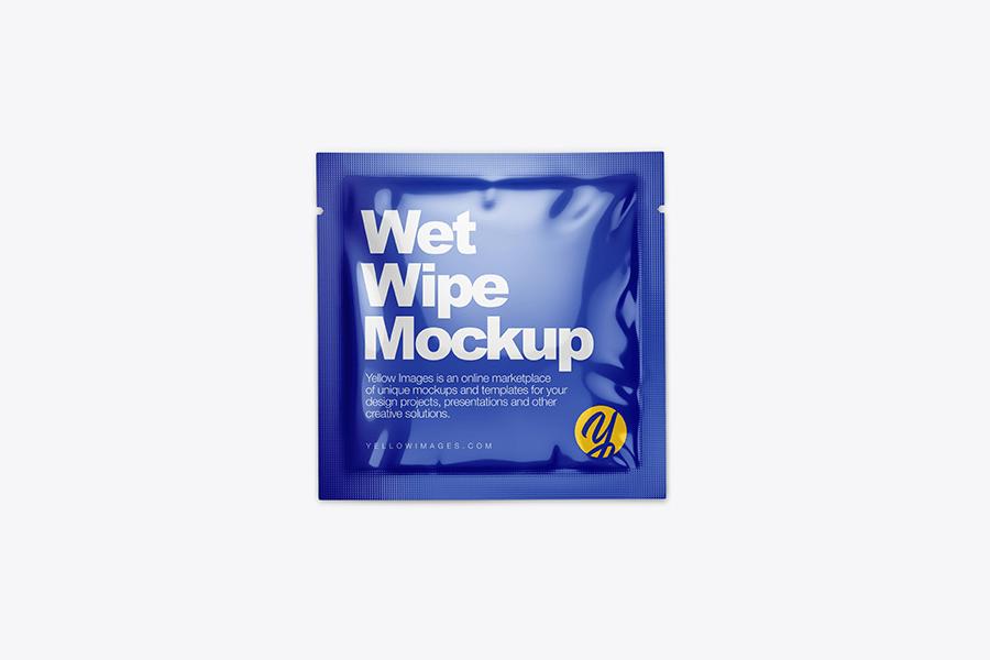 glossy wet wipe pack mockup top view