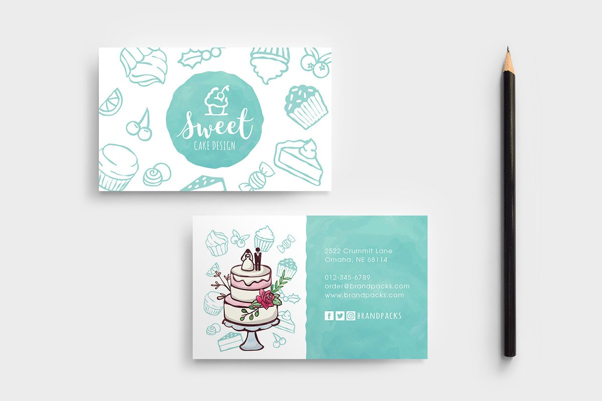 21+ Gorgeous Bakery Business Card Templates  Decolore.Net With Regard To Cake Business Cards Templates Free