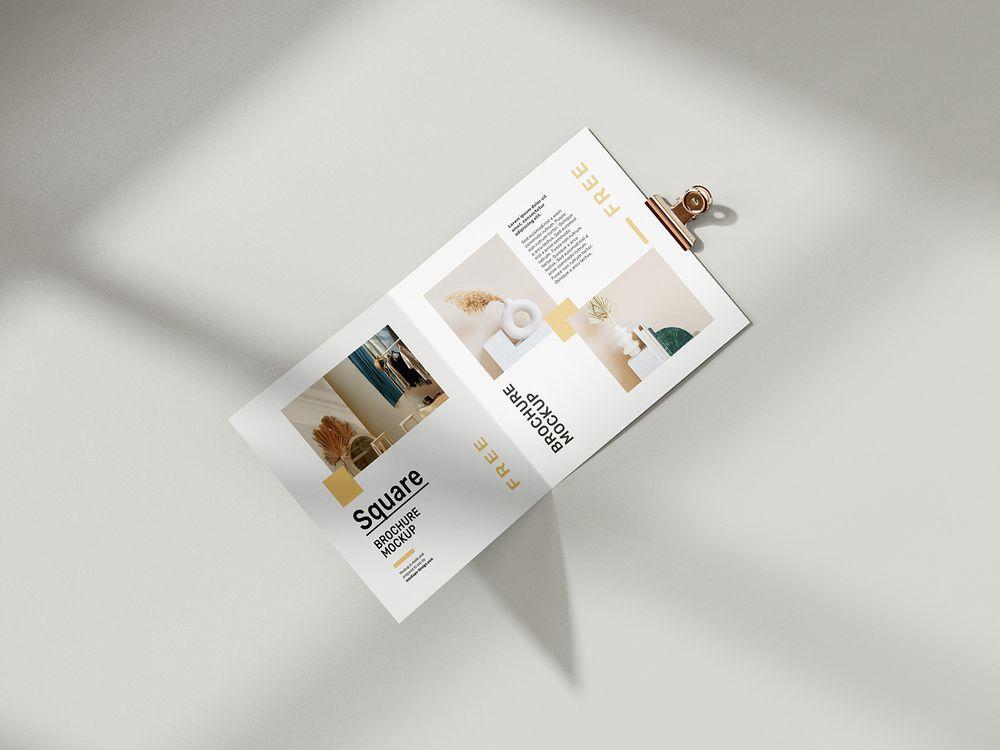 free-folded-square-brochure-mockup
