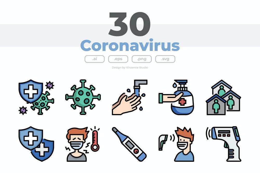 30-coronavirus-icons