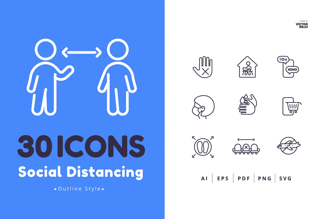 30-social-distancing-icons-outline-style