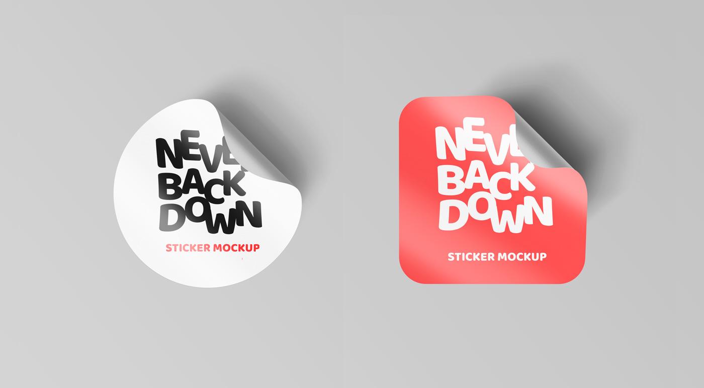 Curled-Sticker-Mockups