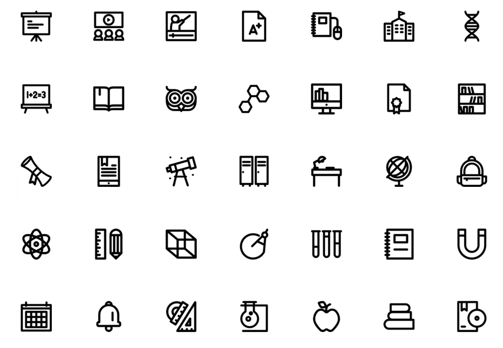 rounded-school-icons