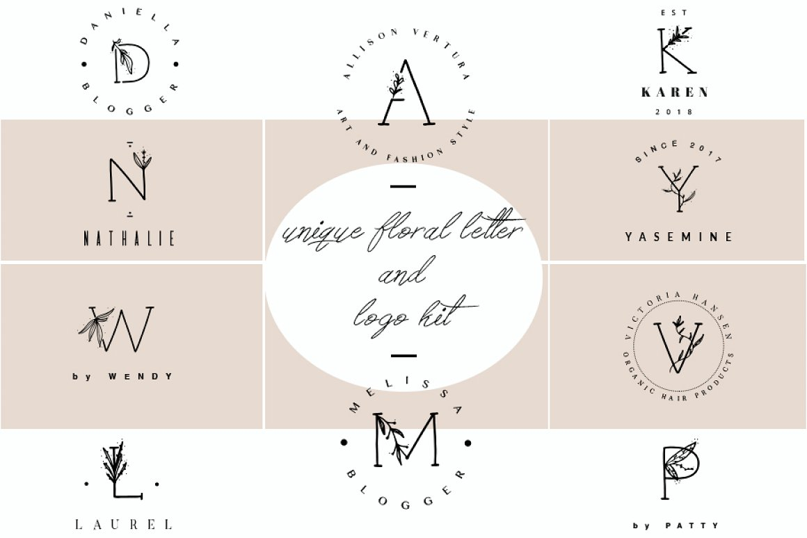 unique-floral-letter-and-logo-kit